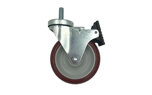 """Quik Stage 5"""" x 2"""" Swivel Caster with Polyurethane Wheel and Total Lock Brake- Locked Wheel Profile View"""