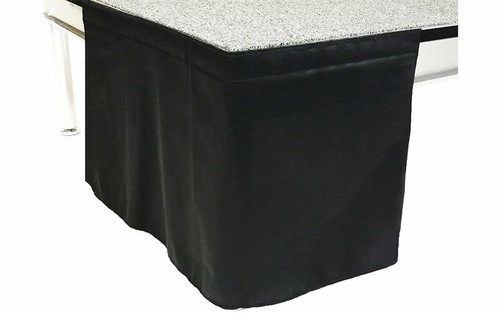 12 Inches High Flat No Pleat Black Poly Premier Polyester Stage Skirting with Velcro. FR Rated.