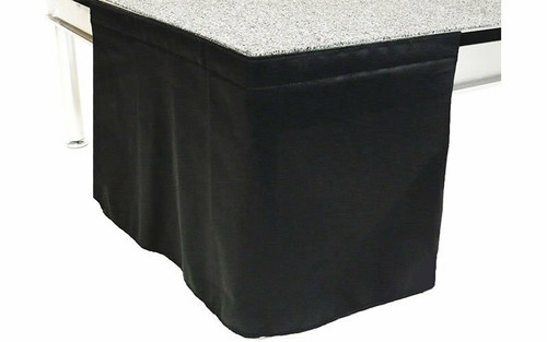 32 Inch High Flat No Pleat Black Polyester Top Rated Stage Skirting with Velcro. IFR Rated.