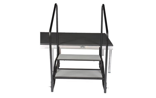 "Best Selling Quik Stage 2-Step Stair Unit with Removable Handrails. For 24"" High Stages - Attached to a 24"" high stage."
