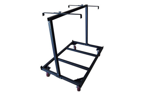Left to right view of our best selling Quik Stage 10-Deck Portable Stage Vertical Storage Cart for 4 x 8 Stage Decks with retention brackets deployed.