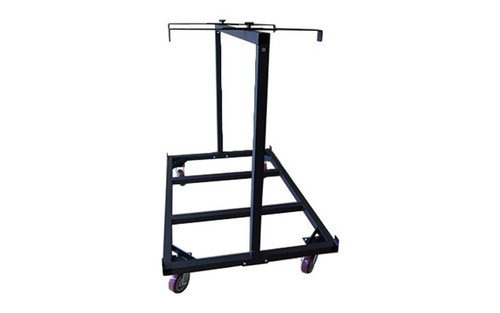 Slightly angled view of our best selling Quik Stage 10-Deck Portable Stage Vertical Storage Cart for 4 x 8 Stage Decks with retention brackets deployed.