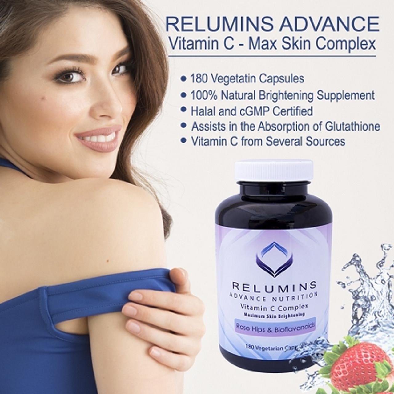 2x RELUMINS ADVANCE WHITE 1650mg Skin Whitening Glutathione Complex - 15x & RELUMINS Vitamin C 180 Capsules