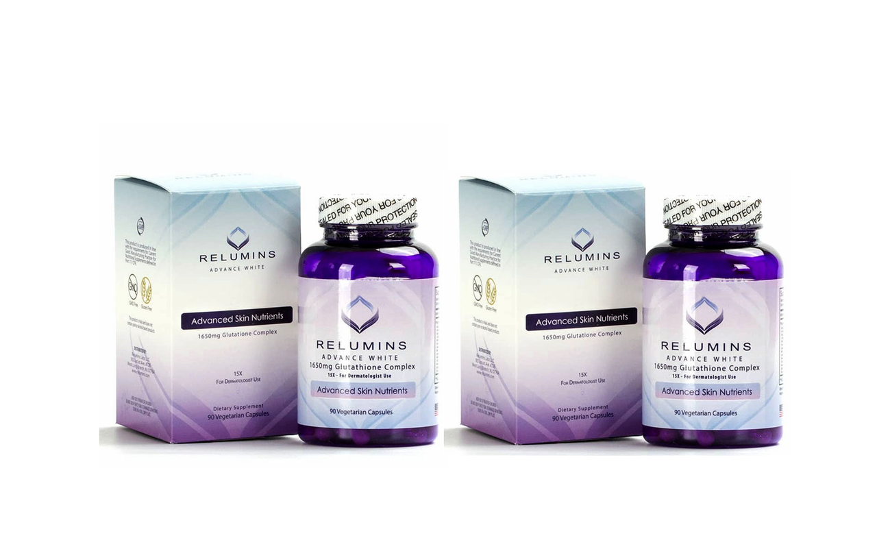 2x RELUMINS ADVANCE WHITE 1650mg Glutathione Complex 15X - for DERMATOLOGIST USE