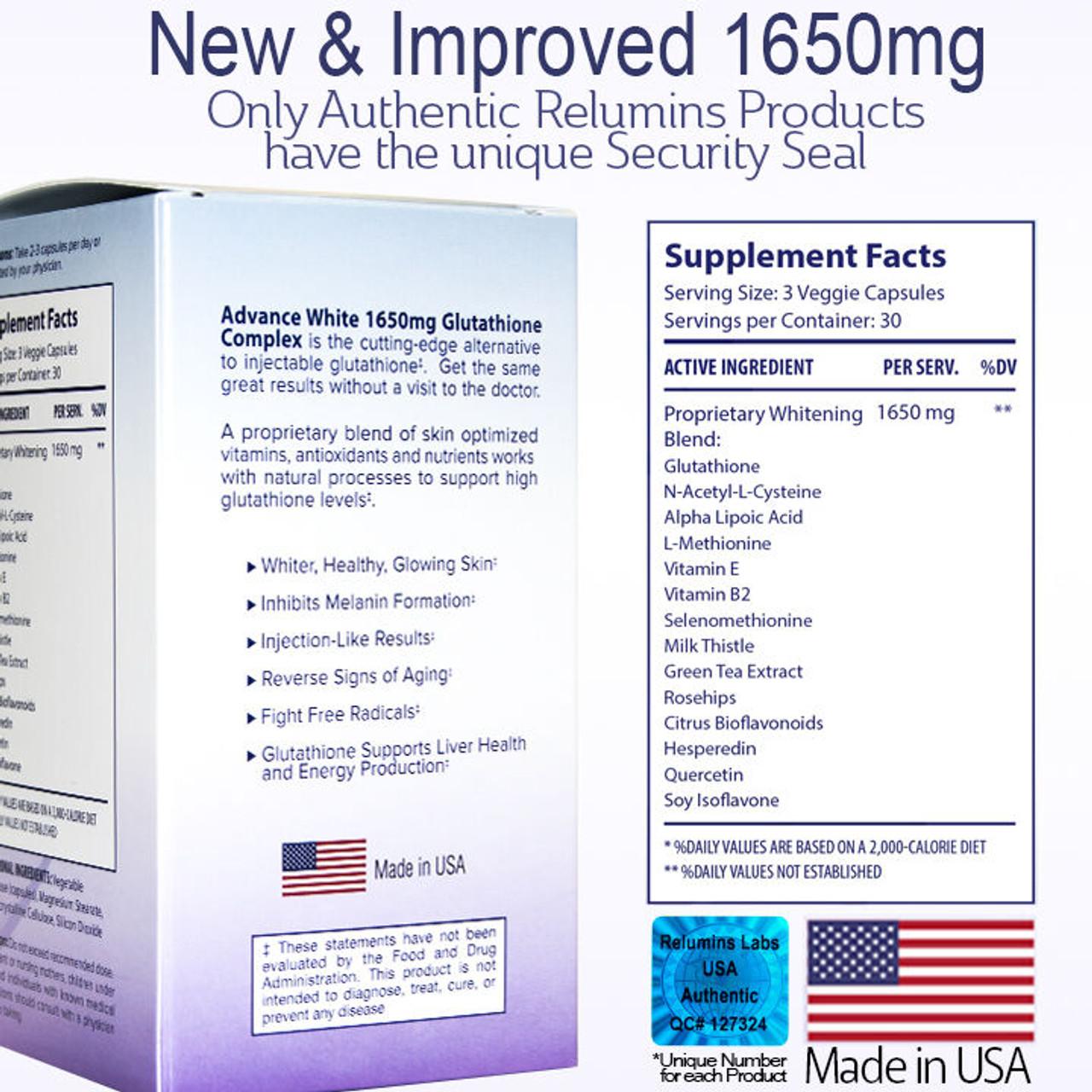 RELUMINS ADVANCE WHITE 1650mg Glutathione Complex 15X – for DERMATOLOGIST USE