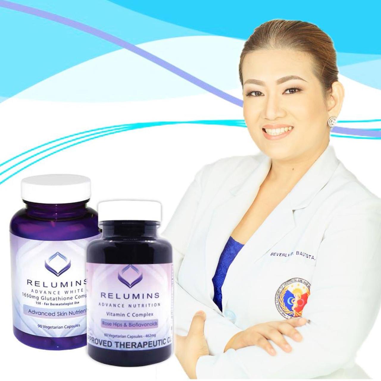 RELUMINS ADVANCE WHITE 1650mg Skin Whitening Glutathione Complex 15x & RELUMINS Vitamin C 60 Capsules