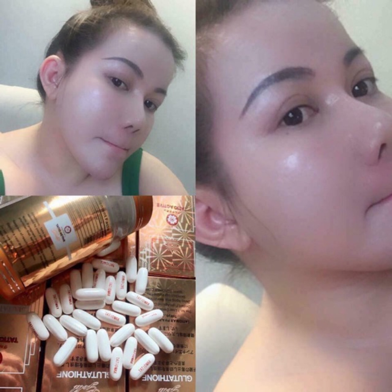 TATIO ACTIVE Gold 1850mg L-Glutathione Skin Whitening Capsules & RELUMINS Vitamin C 60 Capsules