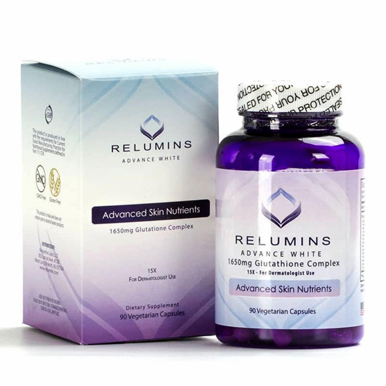 6x RELUMINS ADVANCE WHITE 1650mg Glutathione Complex 15X – for DERMATOLOGIST USE
