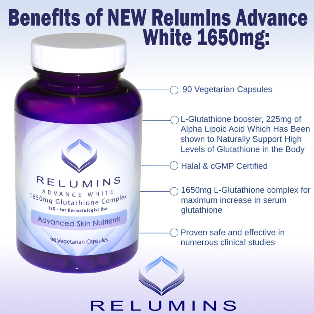 12x  RELUMINS ADVANCE WHITE 1650mg Glutathione Complex 15X – for DERMATOLOGIST USE