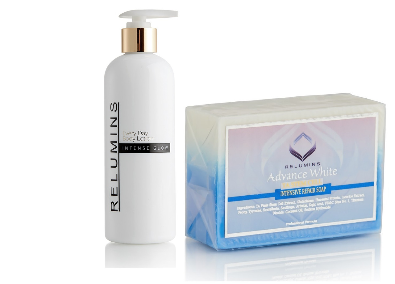 RELUMINS ADVANCE WHITE INTENSIVE REPAIR SOAP and RELUMINS INTENSE GLOW EVERYDAY BODY LOTION