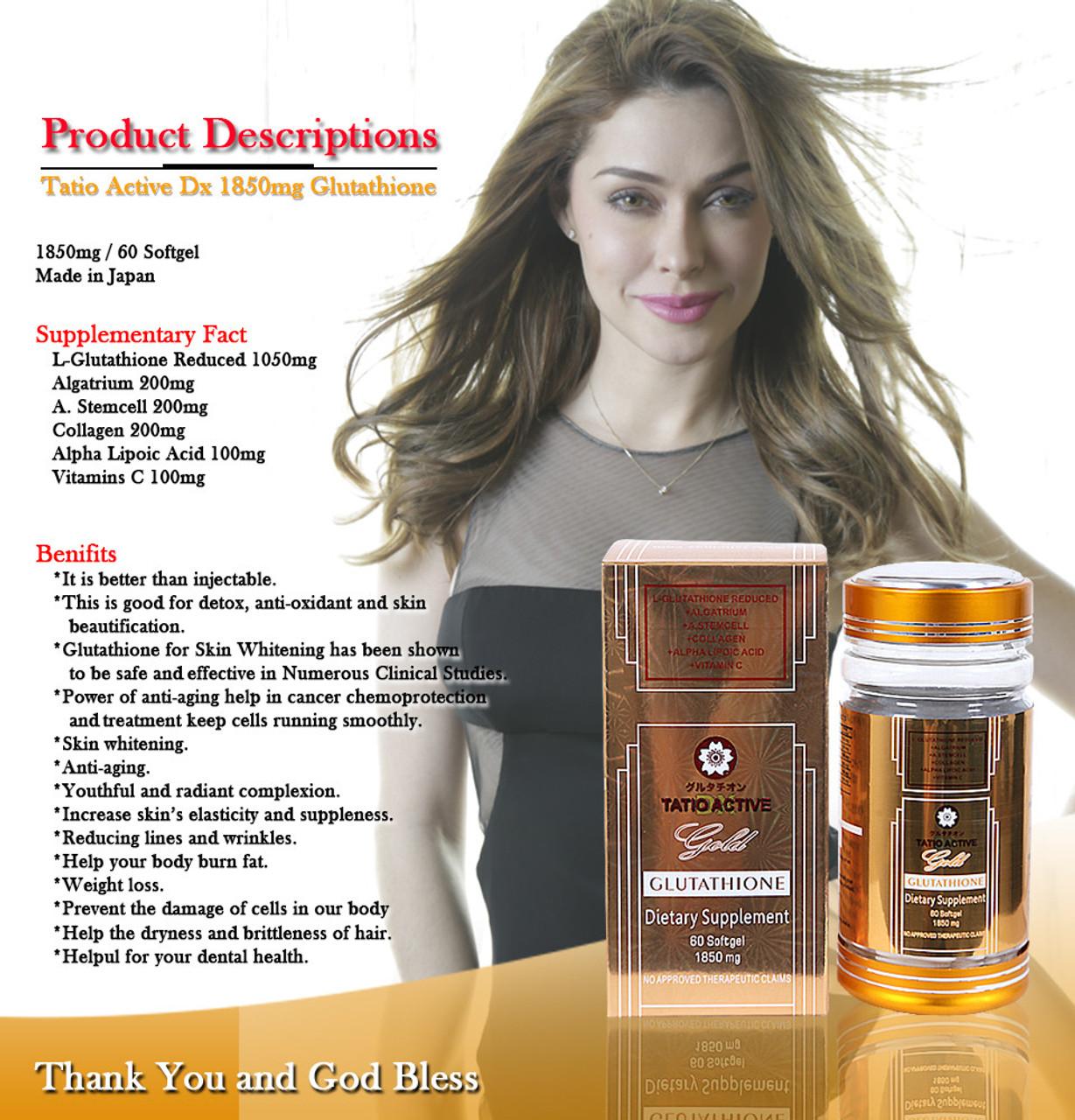 2x TATIO ACTIVE Gold 1850mg L-Glutathione Skin Whitening Capsules and RELUMINS Vitamin C 180 Capsules