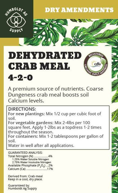 Humboldt Ag Supply:  Crab Shell Meal 40lb (4-2-0)