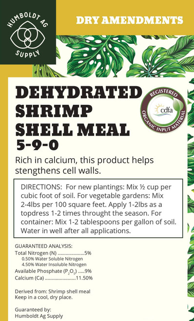 Humboldt Ag Supply:  Dehydrated Shrimp Shell Meal 15lb (5-9-0)