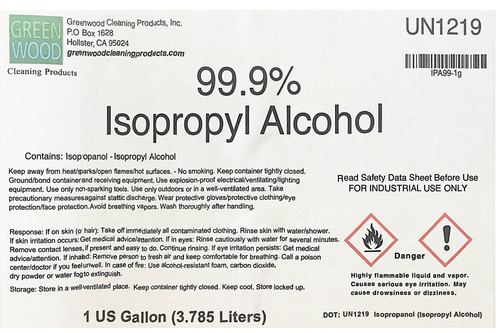 Isopropyl Rubbing Alcohol 99% 1gal TECHNICAL GRADE i.e. cleaning