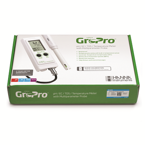 HI9814 GroPro Waterproof Portable pH/EC/TDS/Temperature Meter for Hydroponics