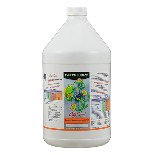A Natural Liquid Calcium, Magnesium and Humic Acid Supplement formulated with ZERO Nitrogen. Recommended for plants with Calcium and Magnesium deficiencies or plants that require increased amounts of Calcium and Magnesium, such as during the production of buds and blooms. OilyCann will also aid in buffering water with higher levels of sodium. Can be used alone or together with liquid and dry fertilizers. Indoor/Outdoor Plants. Hydroponic and Soil.