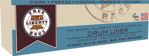 """True Liberty Bags 55 Gallon Drum Liners 36"""" x 48"""", 10 pack"""