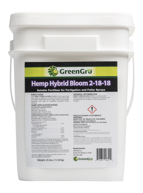GreenGro Hemp Hybrid Bloom 25lb