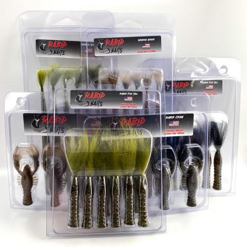 View of entire bundle of bait and lures for clear water fishing