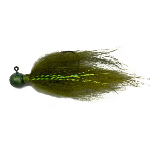 Olive Hair Jig 1/4oz - Bass Fishing Hair jig for smallmouth bass, walleye, and many other game fish
