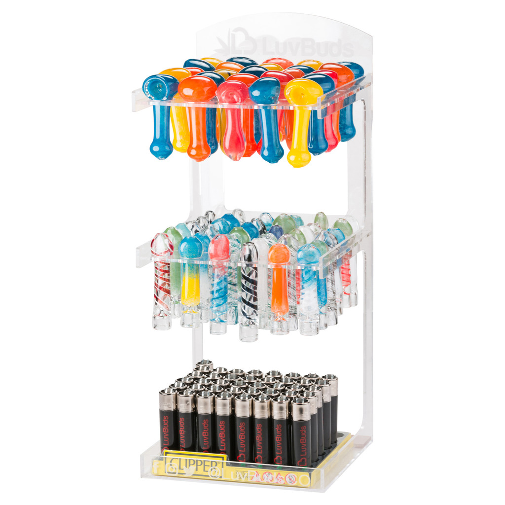 LuvBuds POS Pipe Display 100 Pipes and 100 Chillums Included
