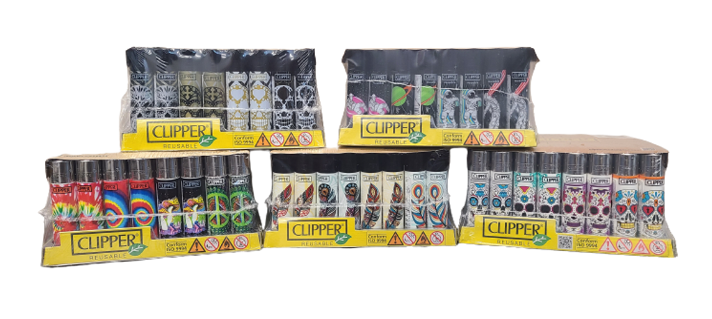 Clipper Lighter 48 pack Assorted Styles and Colors Retail Display