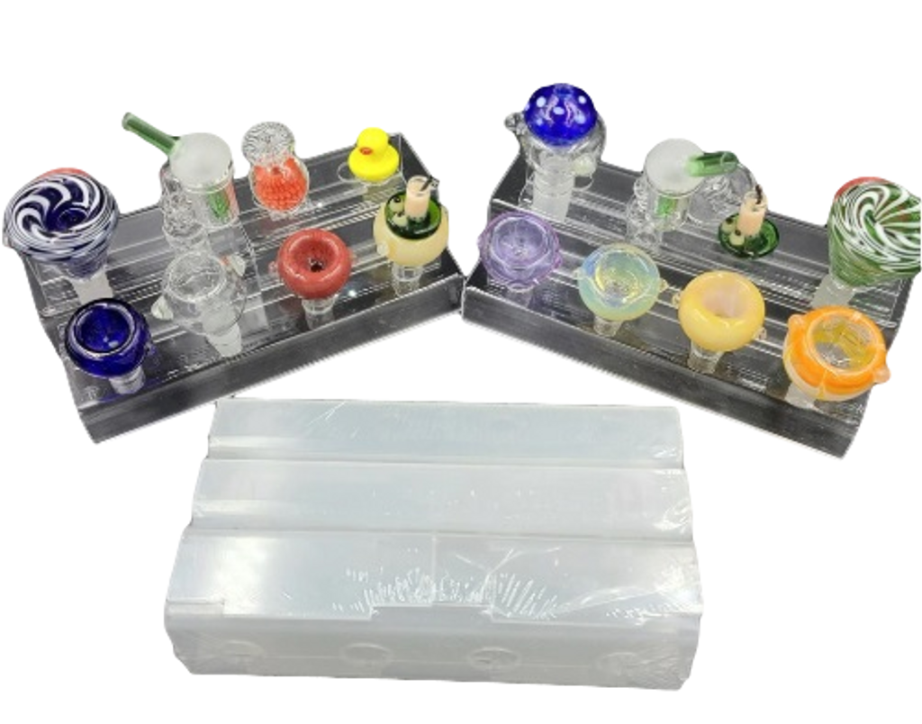 """Acrylic Banger and Bowl Display - Fits 14mm and 18mm Male - 14"""" long/5"""" Deep"""
