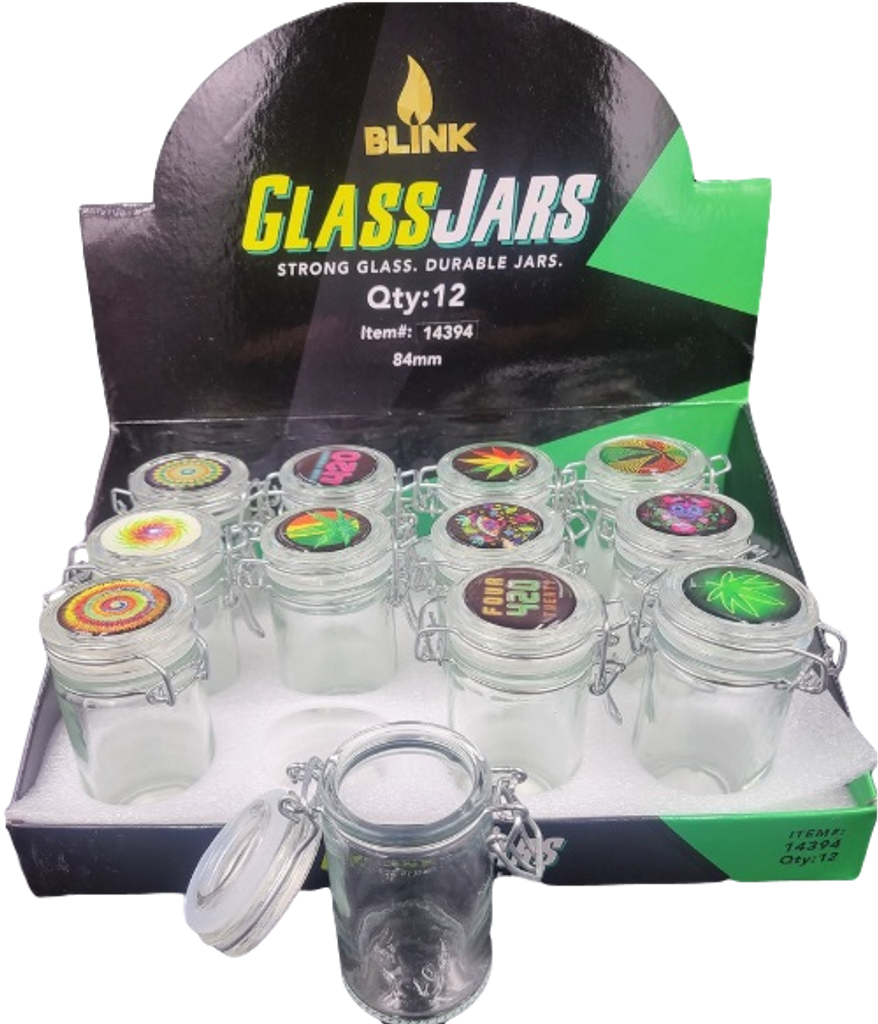 Blink Air Tight Glass Jars with Latch Top holds 3.5 grams 12 pack Retail Display