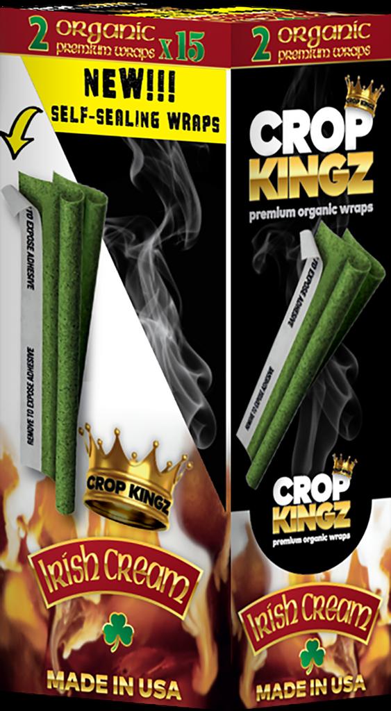 CROP KINGZ - IRISH CREAM Self Sealing - Organic Hemp Wraps 2 wraps per pouch 15 Pouches per Box