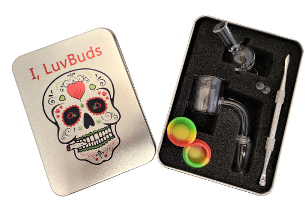 Luvbuds Thermal Banger Kit with 18mm Male Banger, wax container, pearls, bubble carb cap and dabber in silver tin.