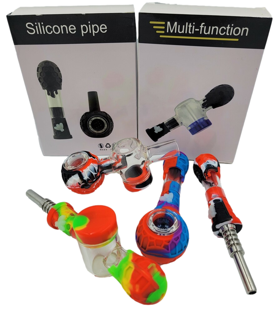 4 in 1 Silicone Nectar Collector/Hand Pipe | Assorted Colors