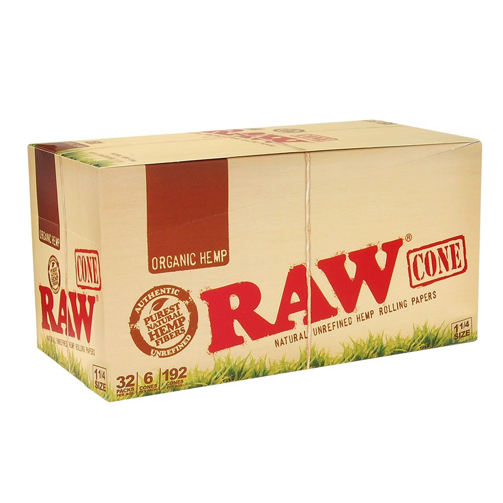 RAW Organic Hemp - Pre Rolled Cones - 1 1/4 Size | 32 pk of 6 Pre-Rolled Cones | Retail Display