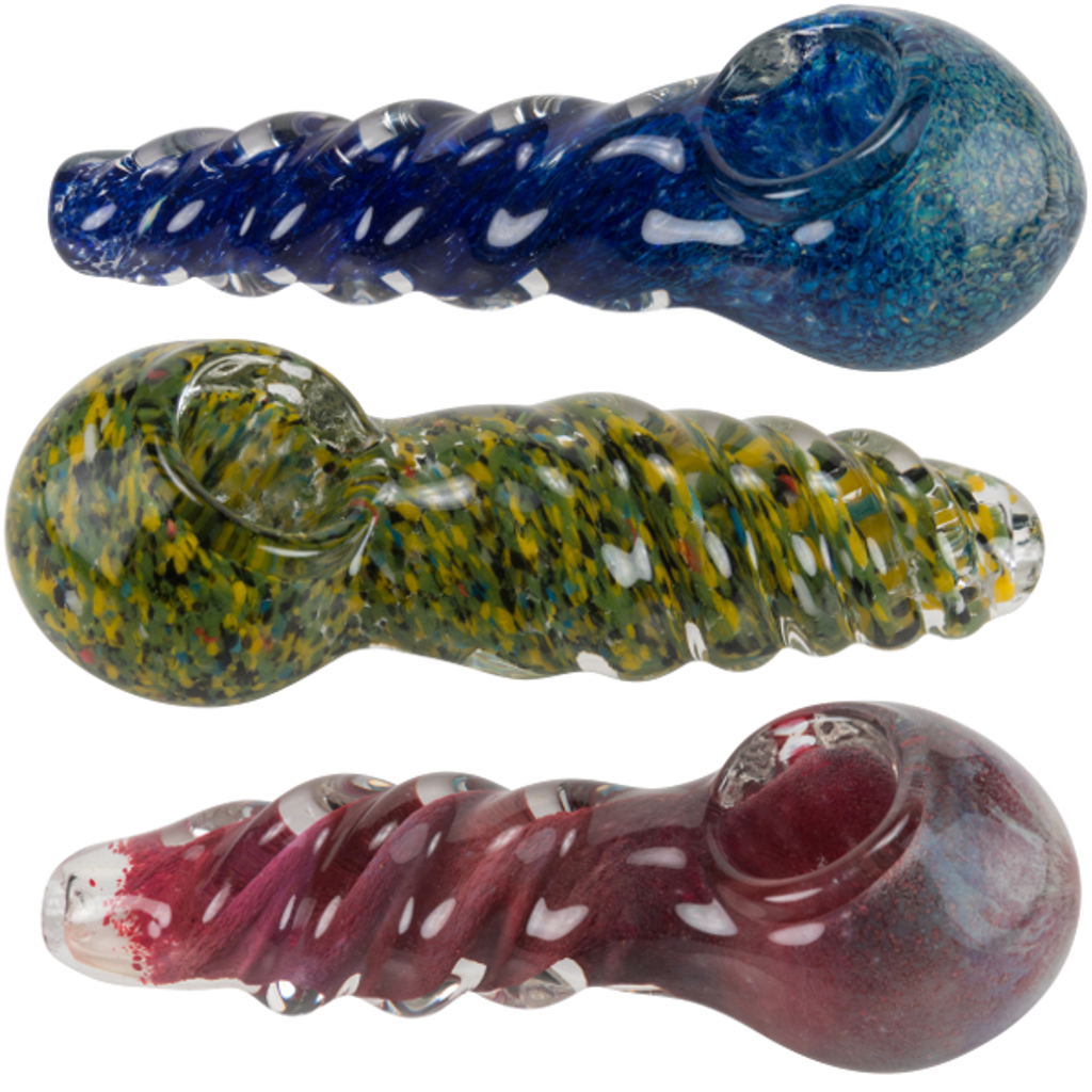 "4.5"" Frit Twisty Glass Hand Pipe"