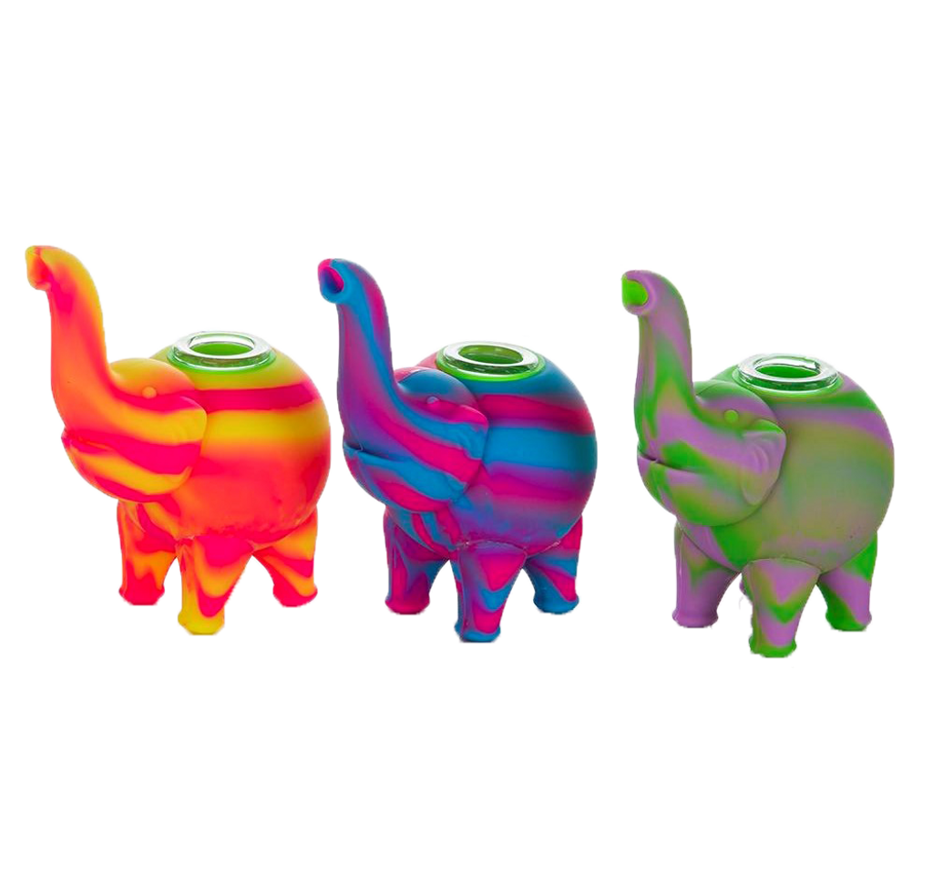 Silicone Elephant Hand Pipe   Assorted Colors