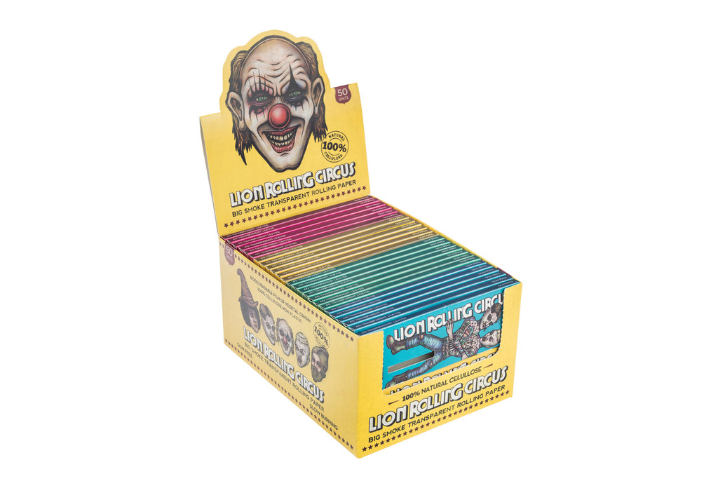 Lion Rolling Circus TRANSPARENT King Size Cellulose Rolling Papers | 50 booklets per box