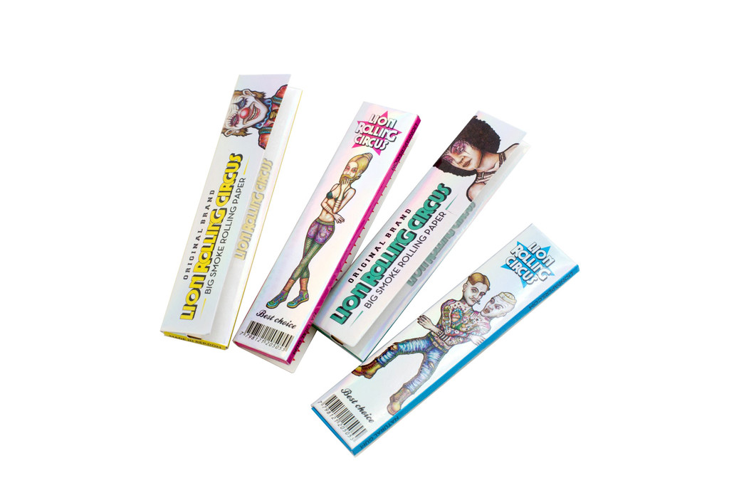 "Lion Rolling Circus Ultra Thin ""Silver Line"" King Size Natural Rolling Papers 
