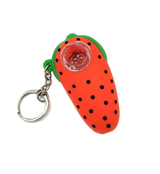 Silicone Strawberry Pipe Key Chain Red