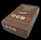 OCB Virgin 1 1/4 inch Rolling Papers 50 leaves per book 24 books per box
