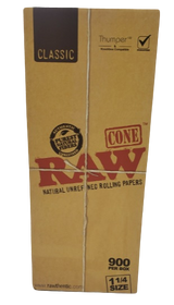 Raw Classic Bulks 1 1/4 inch Pre Rolled Cones 900 count