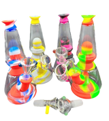 7.5 inch Silicone 2 Glass Chamber Bong Rig Comes with assorted color Bowl and 14 millimeter Quartz Male Banger