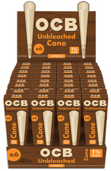 OCB Virgin Pre Rolled Cones 1 1/4 inch 84 millimeter 32 packs of 6 cones