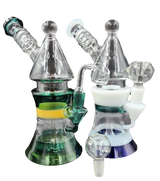 9 inch Lunar Bong Rig Comes with Flower Bowl and 14 millimeter Male Quartz Banger Assorted Colors