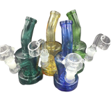 "6"" Hanger Bongs/Rigs  Assorted Colors - Comes with Flower Bowl and 14mm Male Quartz Banger"