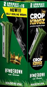 CROP KINGZ - HOME GROWN Self Sealing - Organic Hemp Wraps 2 wraps per pouch 15 Pouches per Box