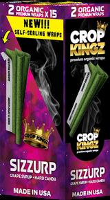 CROP KINGZ - SIZZURP Grape Syrup and Hard Candy Self Sealing - Organic Hemp Wraps 2 wraps per pouch 15 Pouches per Box