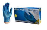 Blue Vinyl Industrial Latex Free Disposable Gloves - Medium 100 gloves per box