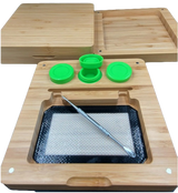 "7""x7.5"" Bamboo Rolling Tray Box Set 