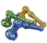 """7"""" Assorted Large Colored Hammer Bubbler with Swirls   Assorted Colors"""