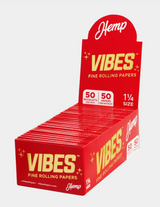 Vibes - Papers - 1 1/4 - Hemp (Red) - 50 Booklets Per Box 50 Papers Per Booklet
