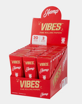 Vibes - Cones - Coffin - King Size - Hemp (red) - 30 Boxes Per Display 3 Cones Per Box